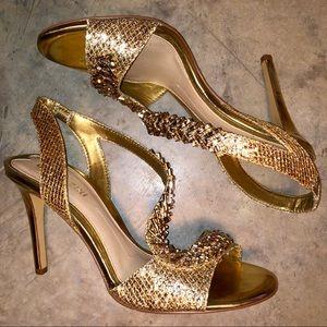 Gianni Bini gold rhinestone heels
